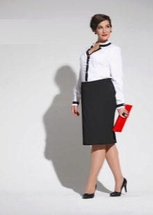 офисный наряд с  юбкой-карандаш для полных женщин