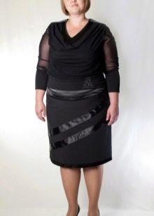 юбка-карандаш для полных женщин из комбинированной ткани
