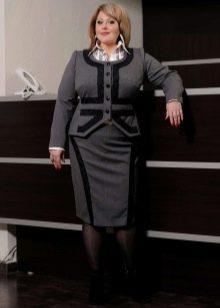 деловой клстюм с  юбкой-карандаш для полных женщин