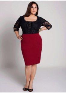 темно-красная  юбка-карандаш для полных женщин