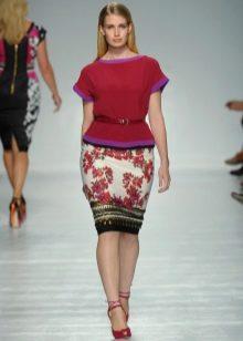 юбка-карандаш для полных женщин с цветочным принтом