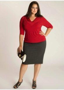 серая  юбка-карандаш для полных женщин