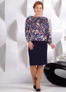 темно-синяя юбка-карандаш для полных женщин