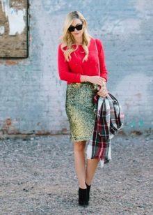 Праздничная юбка карандаш с завышенной талией