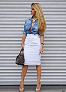 Белая юбка карандаш на каждый день