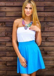 короткая юбка-солнце цвета аквамарин
