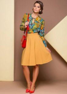 юбка-солнце песочного цвета