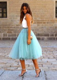 юбка-солнце с завышенной линией из органзы