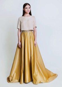 юбка-солнце в пол со шлейфом