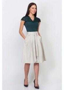 юбка-солнце средней длины с карманами