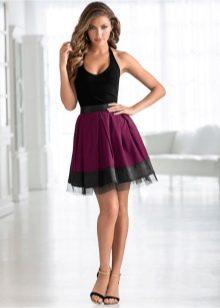 юбка-солнце из комбинированной ткани на резинке