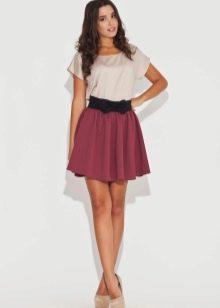 юбка-солнце с контрастной резинкой