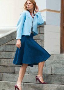 джинсовая юбка-солнце ниже колена