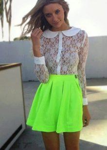 салатовая короткая юбка-солнце