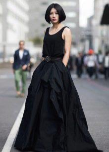 черная юбка-солнце в пол