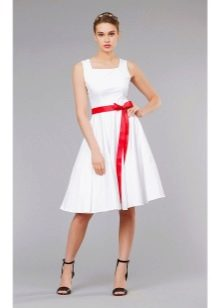 белая юбка-солнце средней длины