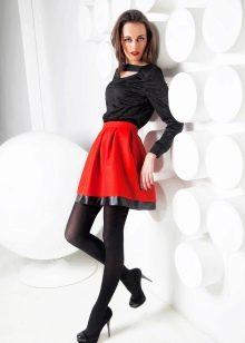 красная юбка-солнце длины мини