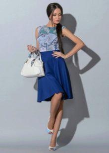 элегантная юбка-солнце синего цвета