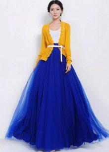 пышная синяя  юбка-солнце в пол