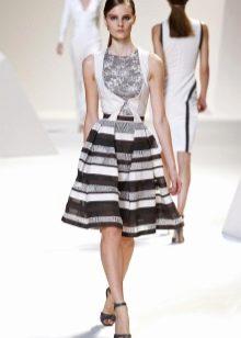 черно-белая пышная юбка в полоску