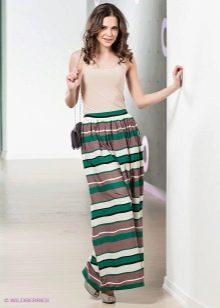 летняя длинная юбка в полоску