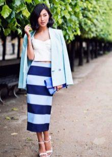 юбка-миди в широкую сине-белую  полоску
