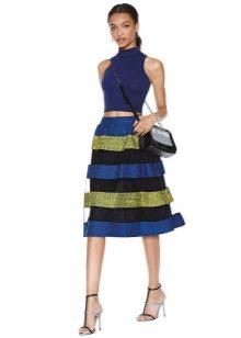 юбка-миди с прозрачными полосками