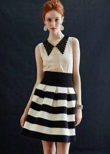 черно-белая юбка в поперечную полоску