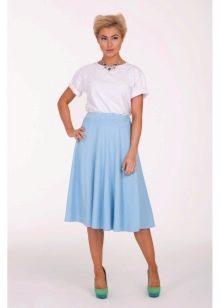 голубая юбка-солнце на резинке