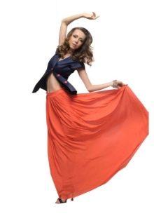 оранжевая юбка на резинке