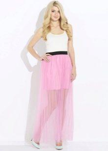 нежная розовая юбка на резинке