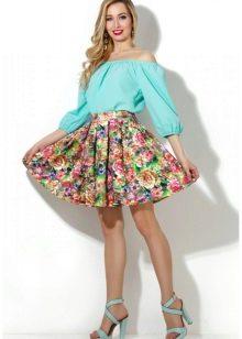 юбка на резинке с цветочным принтом