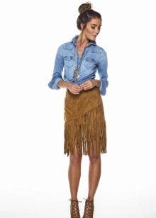 Песочная юбка с бахромой
