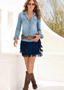 Синяя замшевая юбка с бахромой