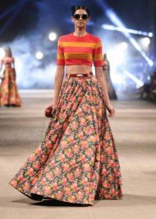 Длинная юбка солнце с принтом