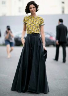 Длинная юбка солнце в пол черного цвета