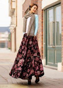 Длинная юбка солнце в пол с цветочным принтом