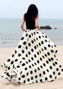 Длинная белая юбка солнце в черный горох