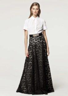 Длинные платья с гипюровой юбкой