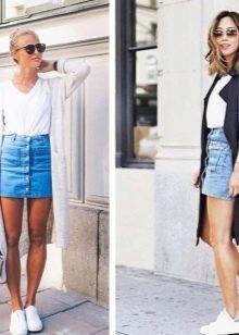 Синяя юбка с белой футболкой