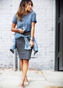 Серые трикотажные юбки миди