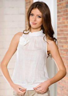 80b1f2e1e04 Блузки без рукавов (86 фото)  модели блуз с воротником