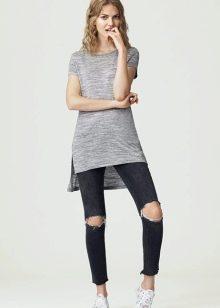 4b43077f7536 Длинная женская футболка с разрезами по бокам (74 фото): футболка ...