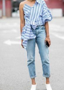 0e8d628bc31 Рубашка в полоску женская (130 фото)  длинная