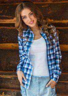 86f51ecdcf2 Рубашка в клетку женская (128 фото клетчатых рубашек)  синие ...