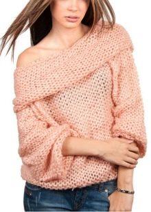 Вязание свитер на одно плечо 33