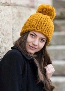 шапка из толстой пряжи 89 фото женские зимние шапки из толстых