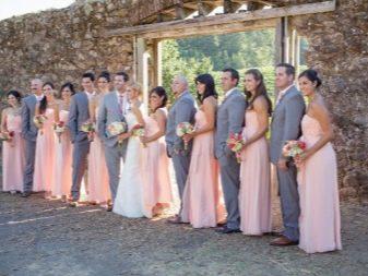 Нежно-персиковые платья для подружек невесты