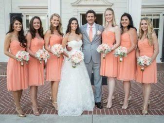 Персиковые платья для подружек невесты
