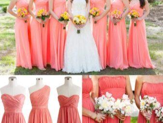 Коралло-розовые платья для подружек невесты